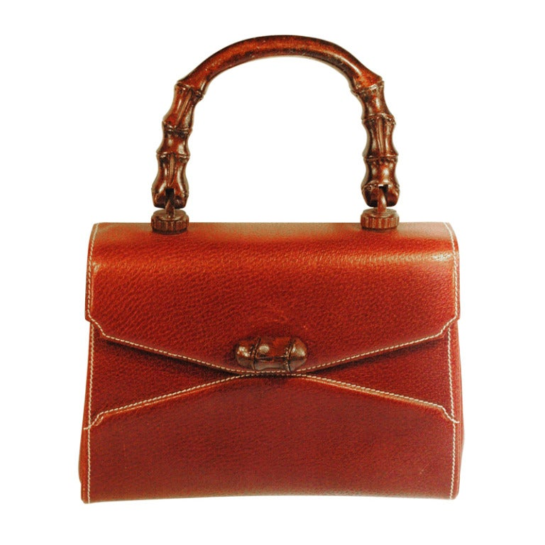 Rare Vintage1960s  Gucci Wooden Handle Bordeaux Leather Multi Compartment Handbag