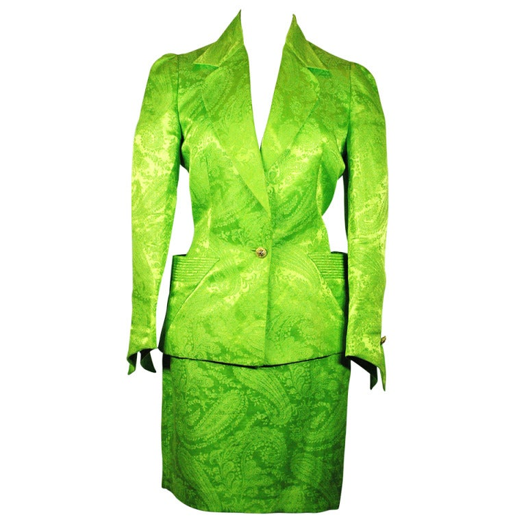 Vintage 1991 Gianni Versace Couture Boutique Runway Lime ...