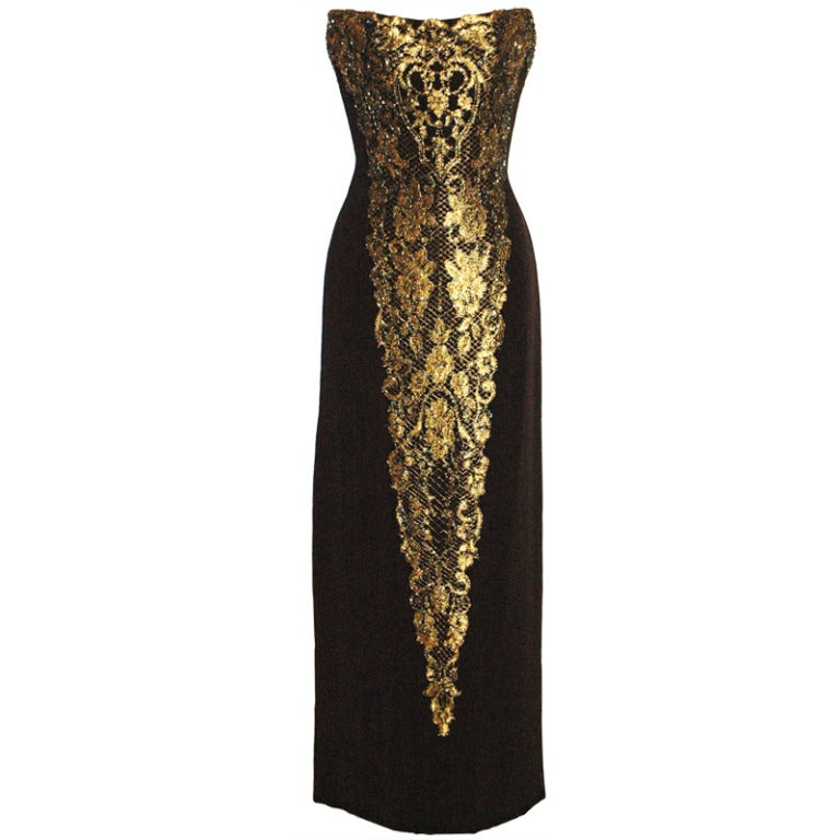 Bob mackie black and gold strapless gown dress at 1stdibs for Costume jewelry for evening gowns