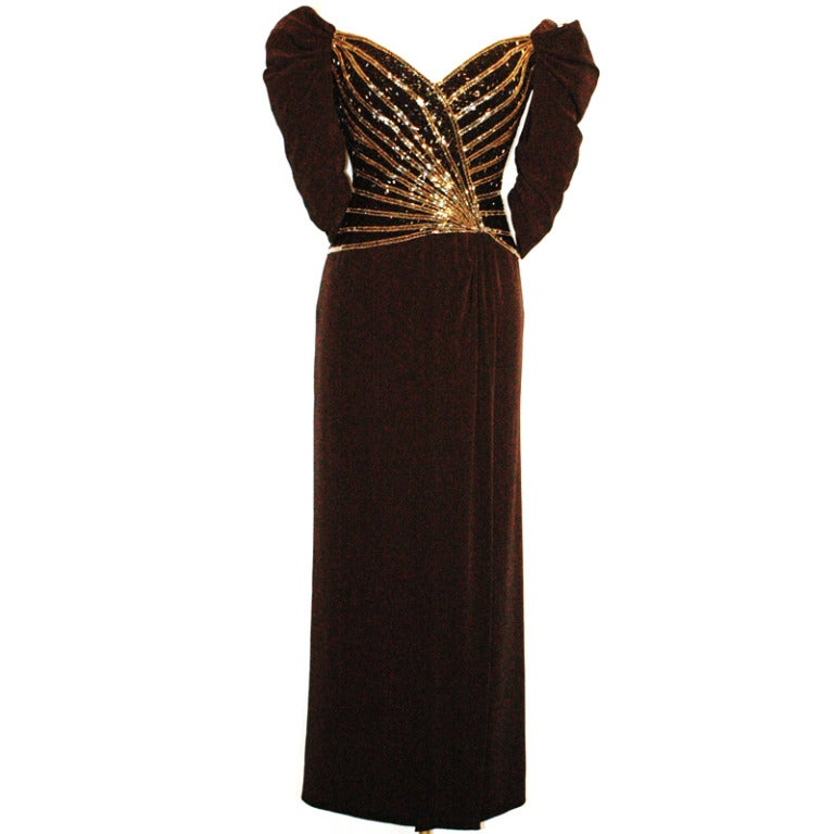 Bob mackie boutique dress off shoulders beaded black for Costume jewelry for evening gowns