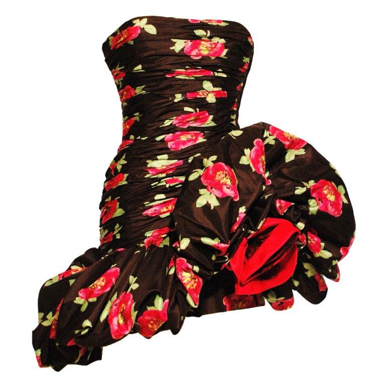 Vintage 1980s Emanuel Ungaro Sexy Strapless Rose Bud Dress