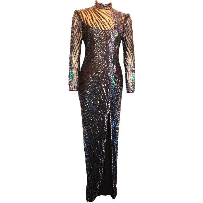 vintage bob mackie fully beaded long sleeve gown 1980s rare unmistakable at 1stdibs