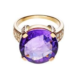 RENESIM Amethyst Rose Gold Cocktail Ring
