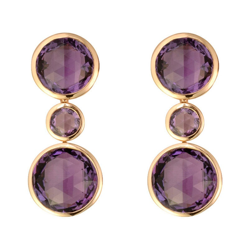 Renesim Amethyst Rose Gold Earrings 1