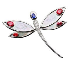 Renesim Mother-of-Pearl Red and Blue Sapphire Dragonfly Pendant