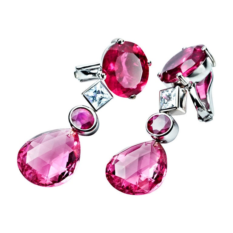 Renesim Red Gemstone White Gold Drop Earrings 1
