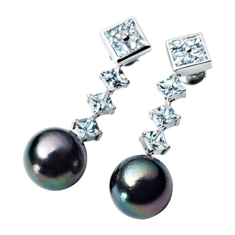 Renesim Diamond & Tahitian Pearl Earrings