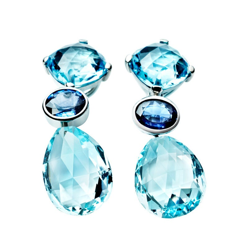 RENESIM Platinum Earrings with Topaz and Sapphires For Sale