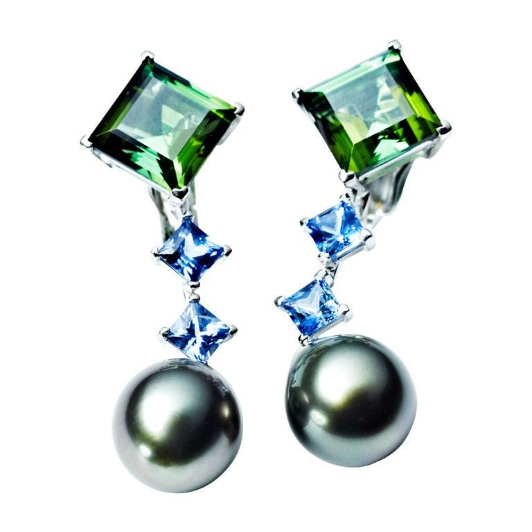 Renesim Green Tourmaline, Blue Sapphire & Tahitian Pearl Earrings