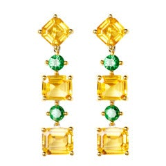 Gemstone Earrings set with Sapphires and Tsavorites in different Cuts by ReneSim