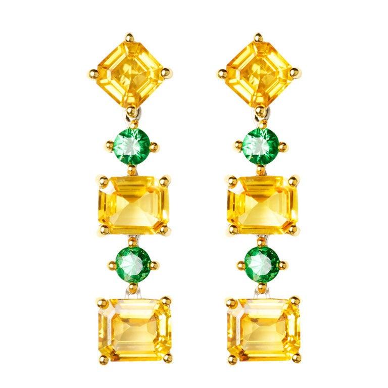 Renesim Sapphire and Tsavorite Gemstone Earrings