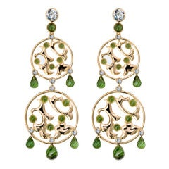 RENESIM Tourmaline Diamond Rose Gold Characters Chandelier Earrings