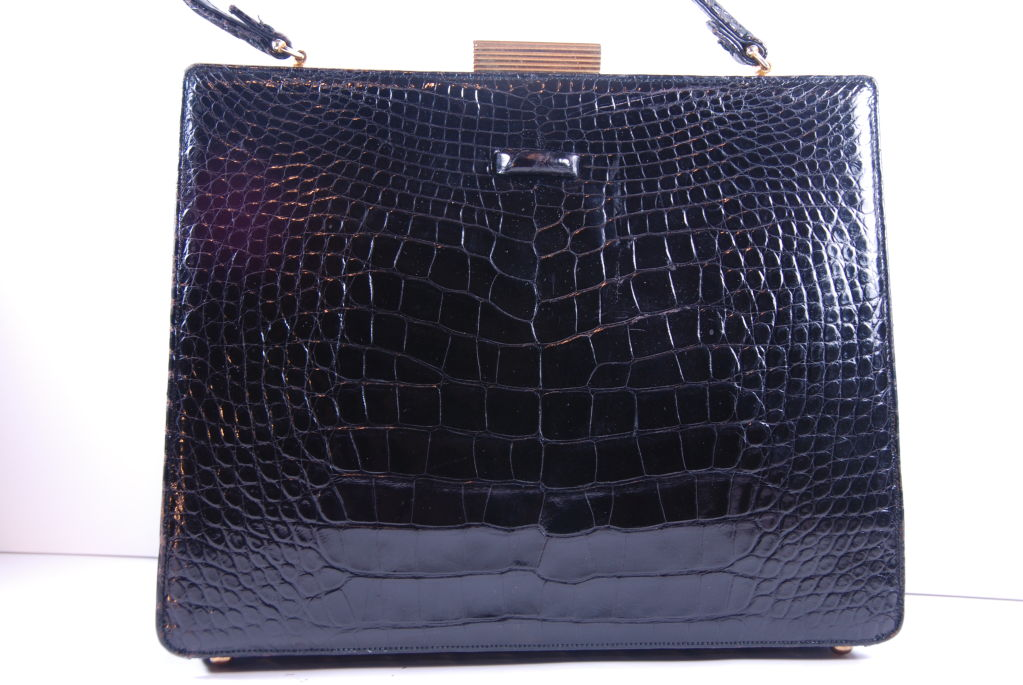 1960's Black Alligator Lucille of Paris Handbag image 2