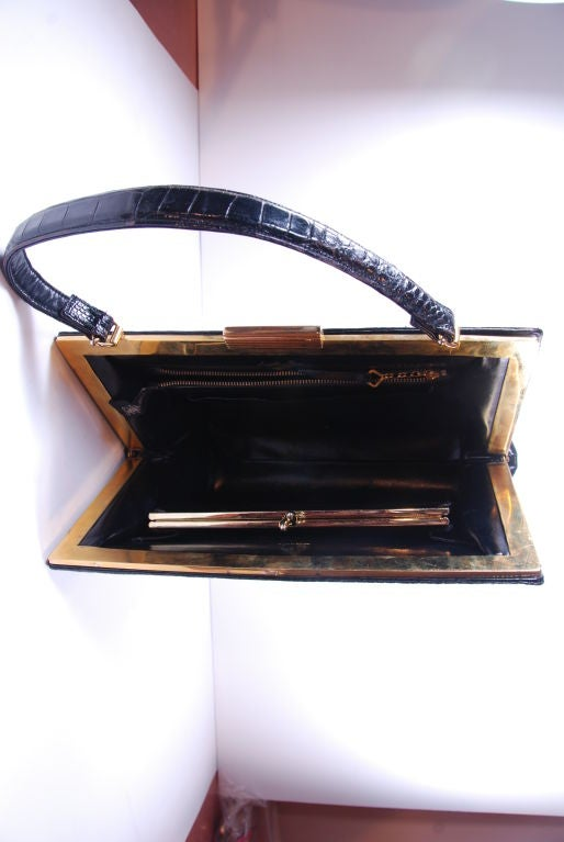 1960's Black Alligator Lucille of Paris Handbag image 7