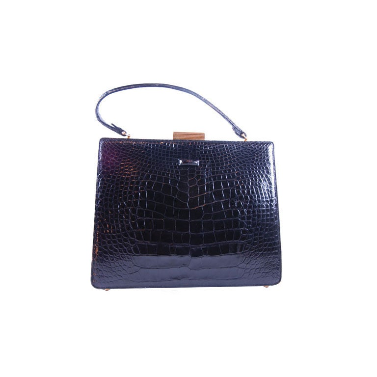 1960's Black Alligator Lucille of Paris Handbag