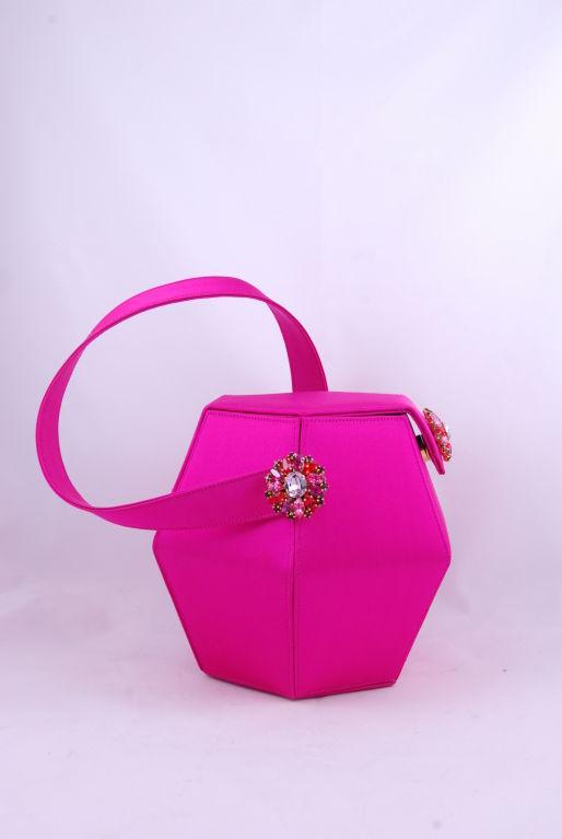 Renaud Pellegrino Shocking Pink Jeweled Evening Bag image 3