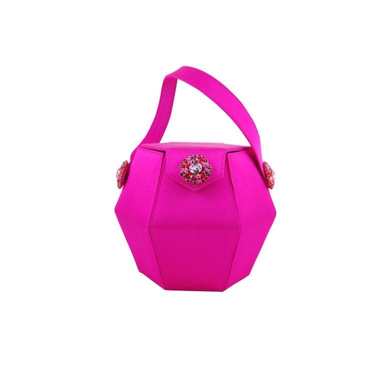 Renaud Pellegrino Shocking Pink Jeweled Evening Bag