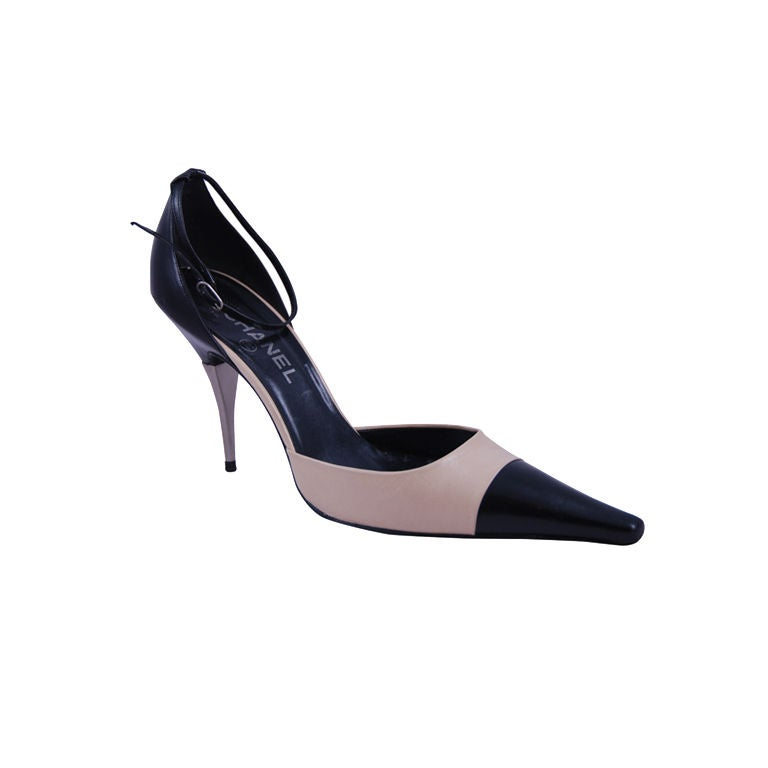 Chanel Ankle Strap Spectator Shoes Sz 42