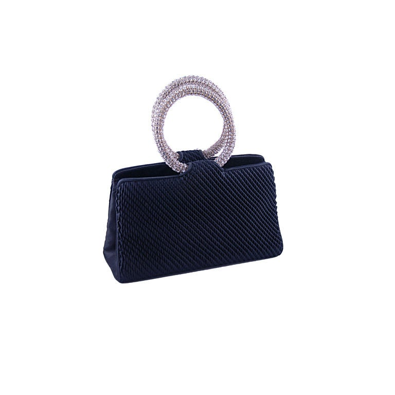 1970 S Black Satin Bag With Rhinstone Ring Handles At 1stdibs