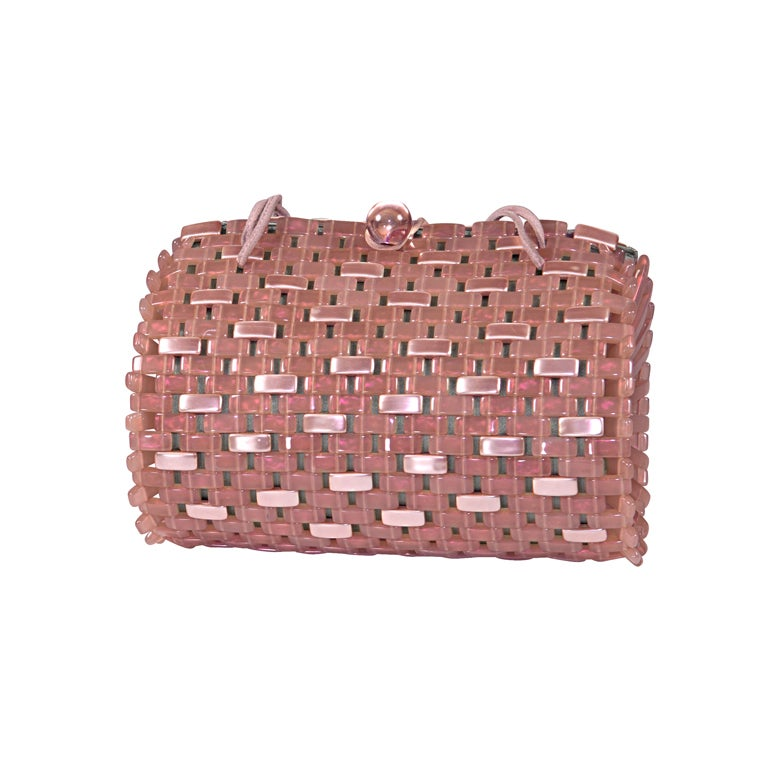 Armani Pink/Gray Basket Weave Purse At 1stdibs