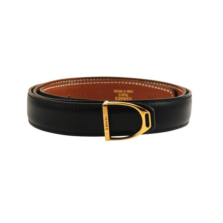 hermes black leather bit belt at 1stdibs