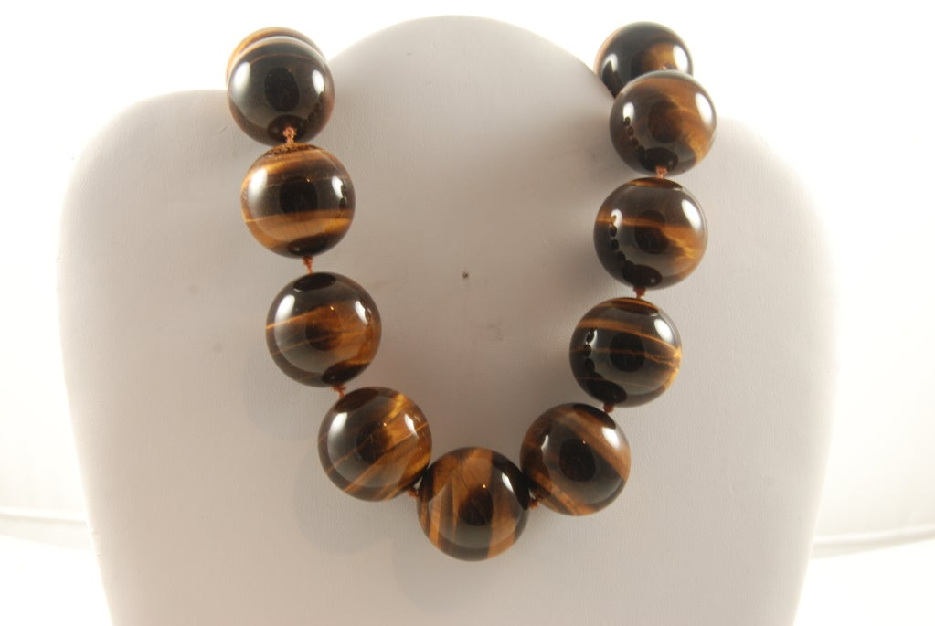 Huge Tiger Eye Bead Necklace image 2