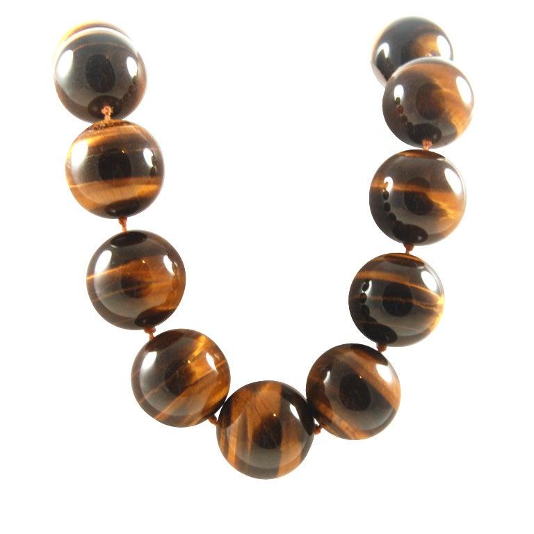 Huge Tiger Eye Bead Necklace