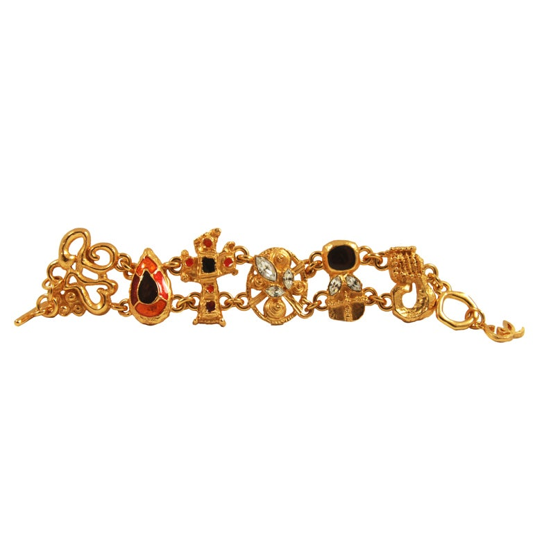 christian lacroix enamel and rhinestone bracelet at 1stdibs. Black Bedroom Furniture Sets. Home Design Ideas