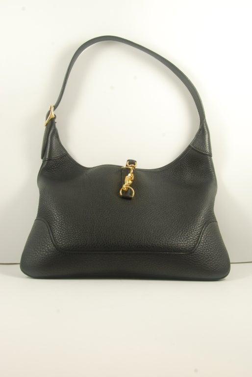 Hermes Black Leather Trim Bag at 1stdibs
