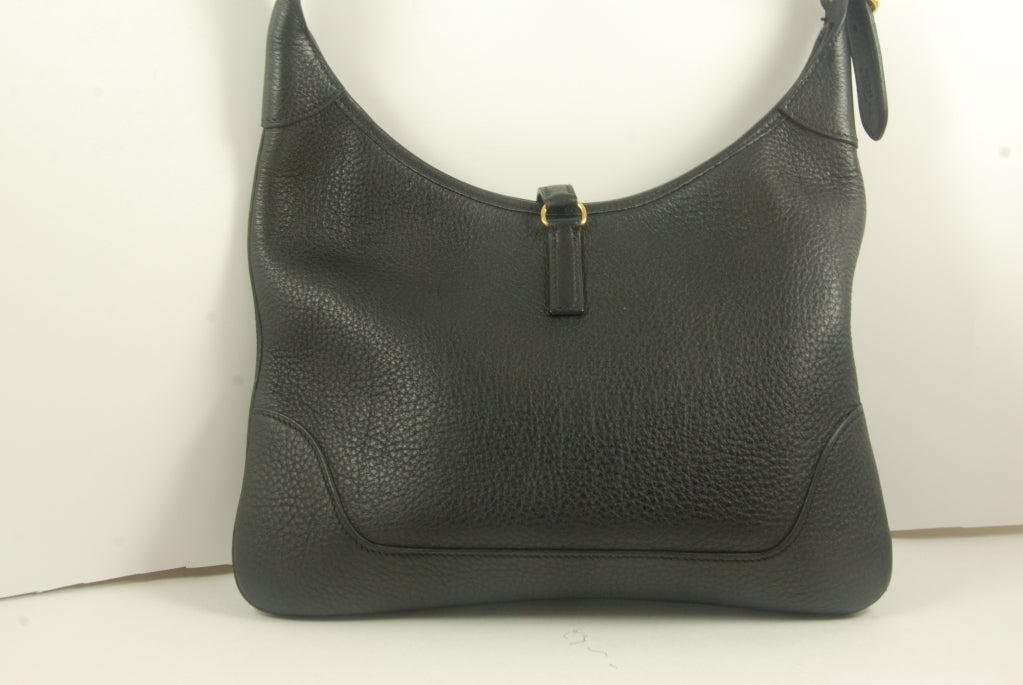 Hermes Black Leather Trim Bag at 1stdibs
