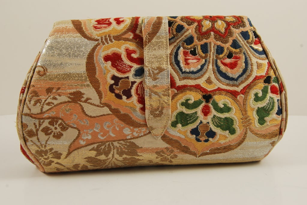 Vintage Gumps Japanese Obi Bag  with Jeweled Clasp image 2