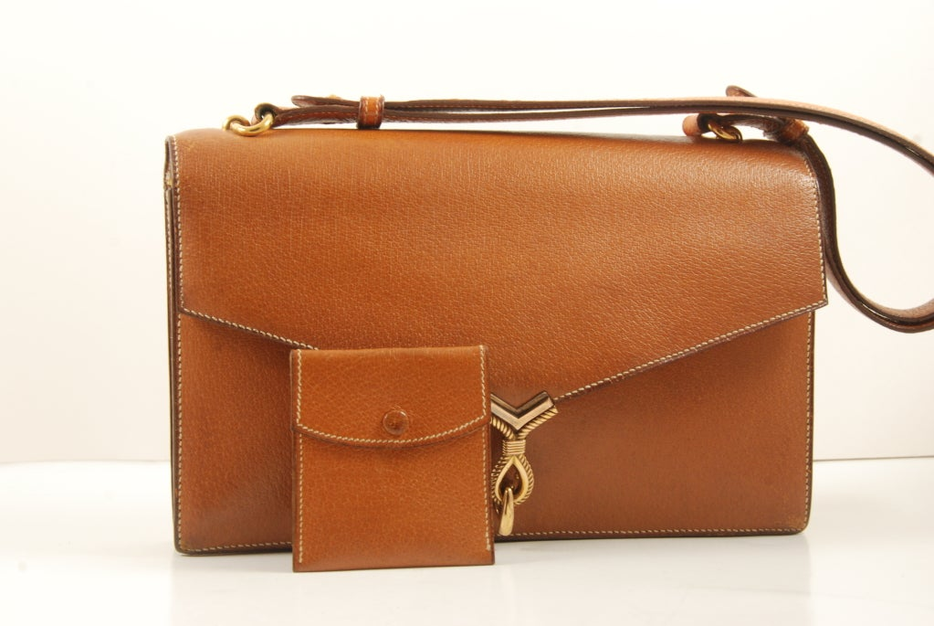 1960's Hermes Peau Porc Leather Vintage Hand Bag image 6