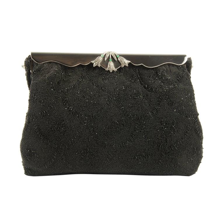 Vintage French Black Beaded Evening Bag/Enamel Marcasite ...