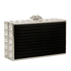 Leiber Black Satin and Rhinestone Evening Bag