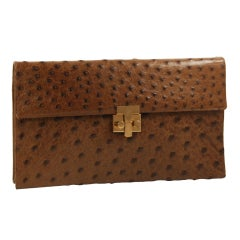 Tiffany Brown Ostrich Envelope  Clutch/ Shoulder Bag