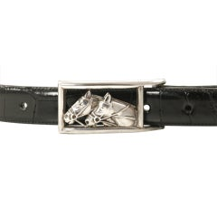 Kieselstein-Cord Sterling Silver Horse Buckle on Alligator Strap