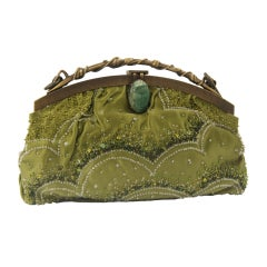 Valentino Garavani Green Beaded Satin Evening Bag