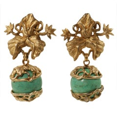 Stephen Dweck Gilt Sterling SIlver & Turquoise Ear Clips
