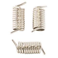 Coil with Antique Rhinestone Settings Earrings and Brooch