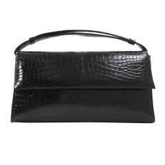 Darby Scott Classic Glazed Black Alligator Handbag