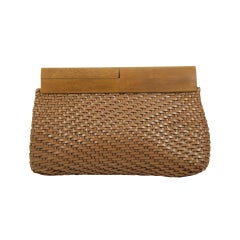 Vintage DeVecchi Woven Leather Clutch with Wood Frame