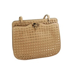 Valentino All Over Studded Tan Leather Hand Bag