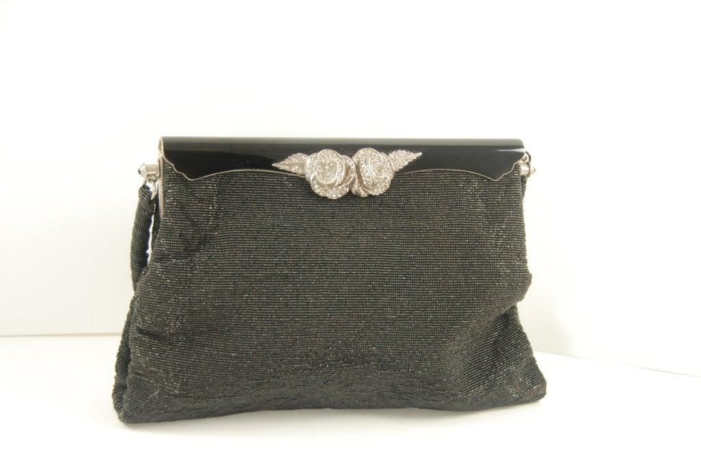 Vintage French Black Steel Beaded Evening Bag at 1stdibs