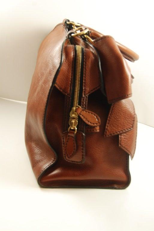 Large Valentino Brown Leather Stylized Gladstone Handbag image 2