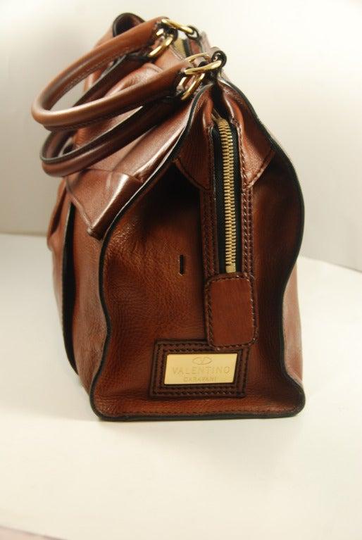 Large Valentino Brown Leather Stylized Gladstone Handbag image 3