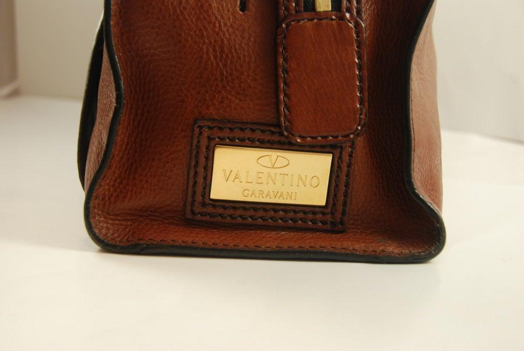 Large Valentino Brown Leather Stylized Gladstone Handbag image 4