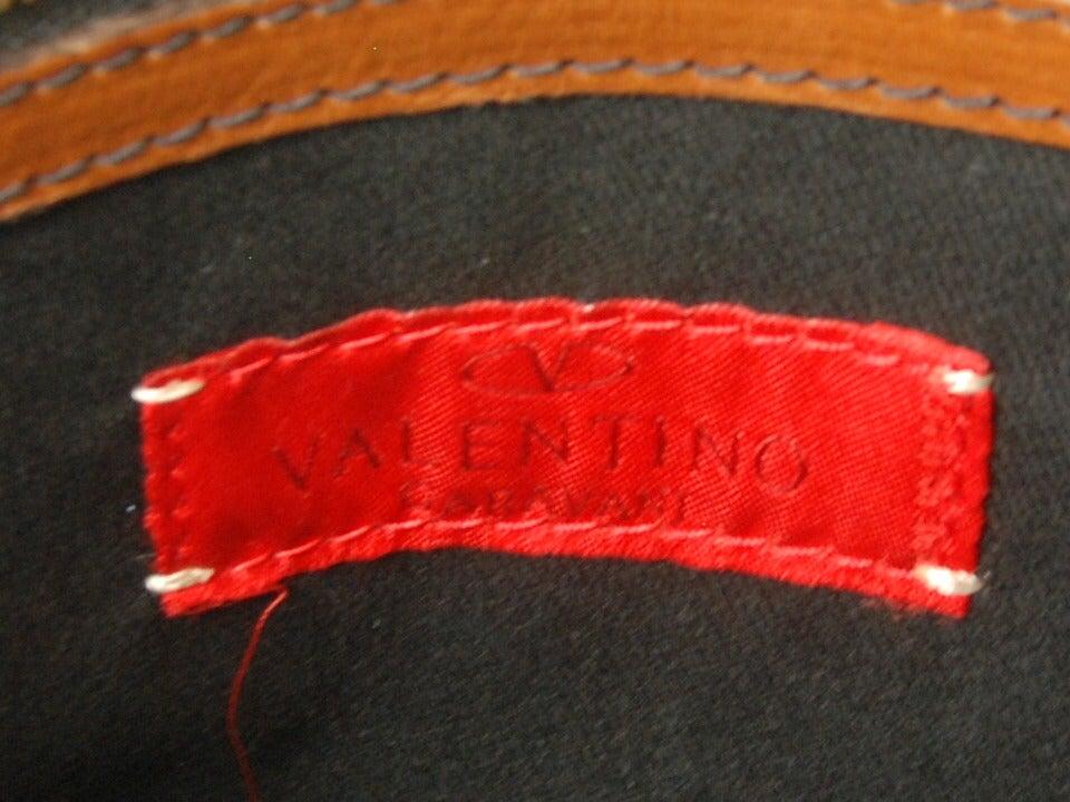 Large Valentino Brown Leather Stylized Gladstone Handbag image 5