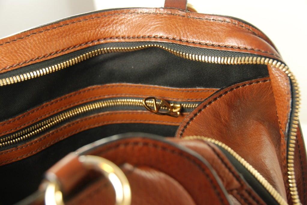 Large Valentino Brown Leather Stylized Gladstone Handbag image 6