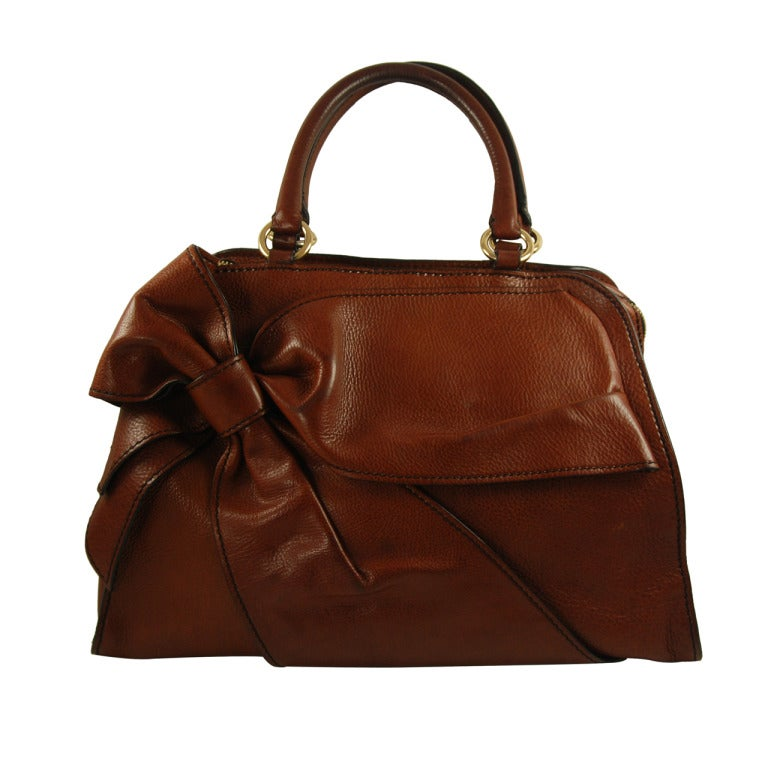 Large Valentino Brown Leather Stylized Gladstone Handbag