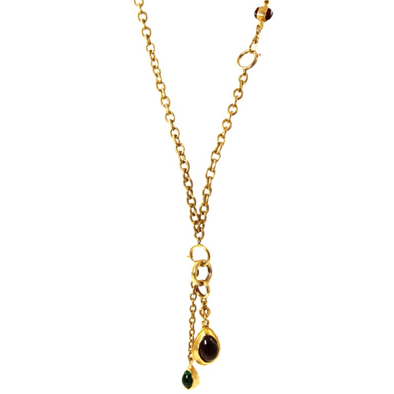 1970s 80s chanel necklace with gripoix drops at 1stdibs